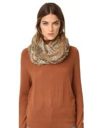 Écharpe en fourrure en tricot marron Jocelyn