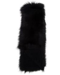 Écharpe en fourrure en tricot noire Inverni