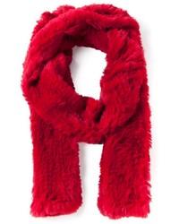 Écharpe en fourrure rouge