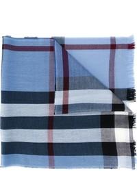 Écharpe en laine à carreaux bleu clair Burberry