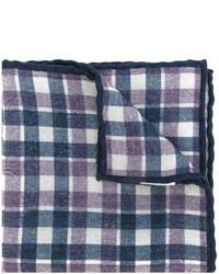 Écharpe en laine à carreaux bleue marine Eleventy