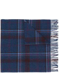 Écharpe en laine à carreaux bleue marine Polo Ralph Lauren