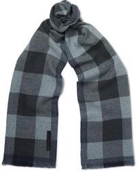 Écharpe en laine à carreaux bleue Ermenegildo Zegna