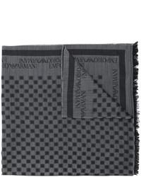 Écharpe en laine à carreaux gris foncé Emporio Armani