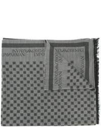 Écharpe en laine à carreaux grise Emporio Armani