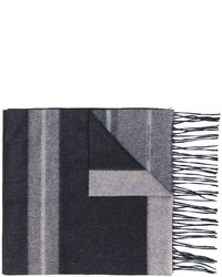 Écharpe en laine à rayures horizontales grise Salvatore Ferragamo