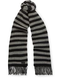 Écharpe en laine à rayures horizontales noire Saint Laurent