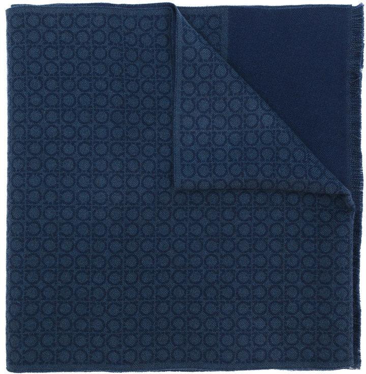 Écharpe en laine bleue marine Salvatore Ferragamo