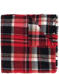Écharpe en laine écossaise bordeaux DSQUARED2