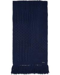 Écharpe en laine en tricot bleu marine Burberry