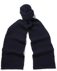 Écharpe en laine en tricot bleu marine