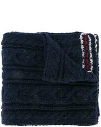 Écharpe en laine en tricot bleu marine Thom Browne