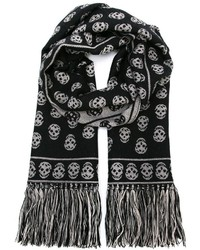 Écharpe en laine en tricot noire Alexander McQueen