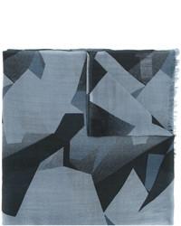 Écharpe en laine géométrique bleu clair Closed