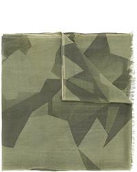 Écharpe en laine géométrique olive Closed