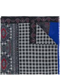 Écharpe en laine imprimée gris foncé Etro