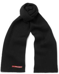 Écharpe en laine noire Prada