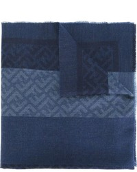 Écharpe en laine tressée bleu marine Fendi