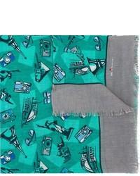 Écharpe en lin imprimée bleu canard Kiton