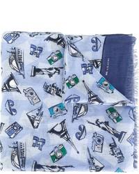 Écharpe en lin imprimée bleu clair Kiton