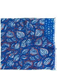 Écharpe en lin imprimée bleue Kiton