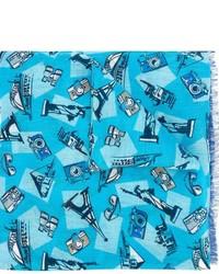 Écharpe en lin imprimée turquoise Kiton