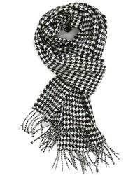 Écharpe en pied-de-poule blanche et noire