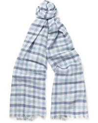 Écharpe en soie à carreaux bleu clair