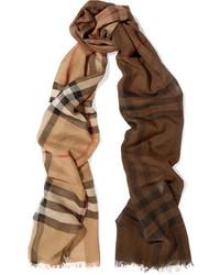 Écharpe en soie à carreaux marron clair Burberry
