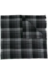 Écharpe en soie à carreaux noire Ermenegildo Zegna