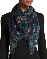 Écharpe en soie à fleurs bleu marine