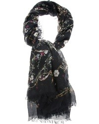 Écharpe en soie à fleurs noire Alexander McQueen