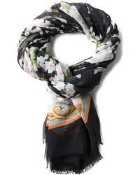 Écharpe en soie à fleurs noire Dolce & Gabbana