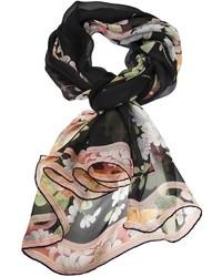 Écharpe en soie à fleurs noire Leonard