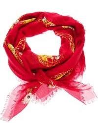 Écharpe en soie à fleurs rouge Alexander McQueen