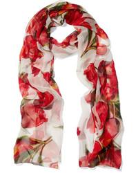 Écharpe en soie à fleurs rouge Dolce & Gabbana
