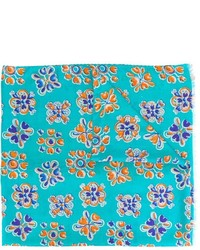 Écharpe en soie à fleurs turquoise Kiton