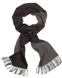 Écharpe en soie á pois noire et blanche