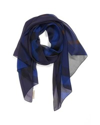 Écharpe en soie bleu marine
