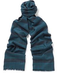 Écharpe en soie écossaise bleu marine Brioni