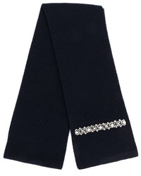 Écharpe en soie en tricot bleu marine No.21