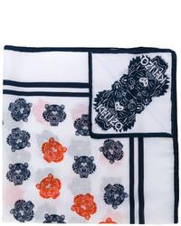 Écharpe en soie géométrique blanche Kenzo