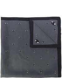 Écharpe en soie géométrique gris foncé Kenzo