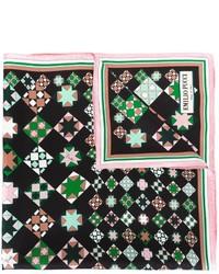 Écharpe en soie géométrique noire Emilio Pucci