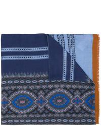 Écharpe en soie imprimé bleu marine Etro