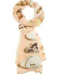Écharpe en soie imprimée beige