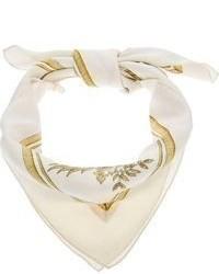 Écharpe en soie imprimée blanche