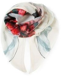 Écharpe en soie imprimée blanche Alexander McQueen