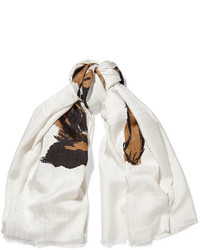 Écharpe en soie imprimée blanche Balenciaga