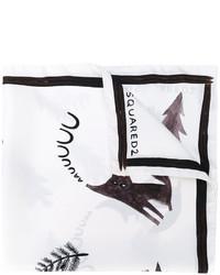 Écharpe en soie imprimée blanche DSQUARED2